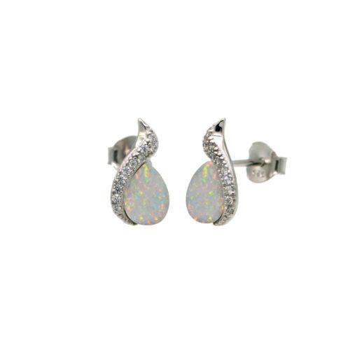 Opale Larme Boucles D/'oreille Avec Labo Diamants//Argent Sterling 925//12 mm par 7 mm