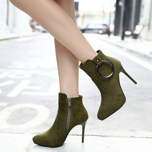 botas bajo tacón de aguja 10 cm tobillo verde cómodo cómodo cómodo como piel 9579  descuento