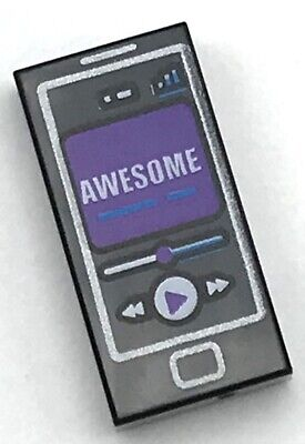 Lego Black Tile 1 x 2 Groove Cell Phone Purple Screen White /'AWESOME/'