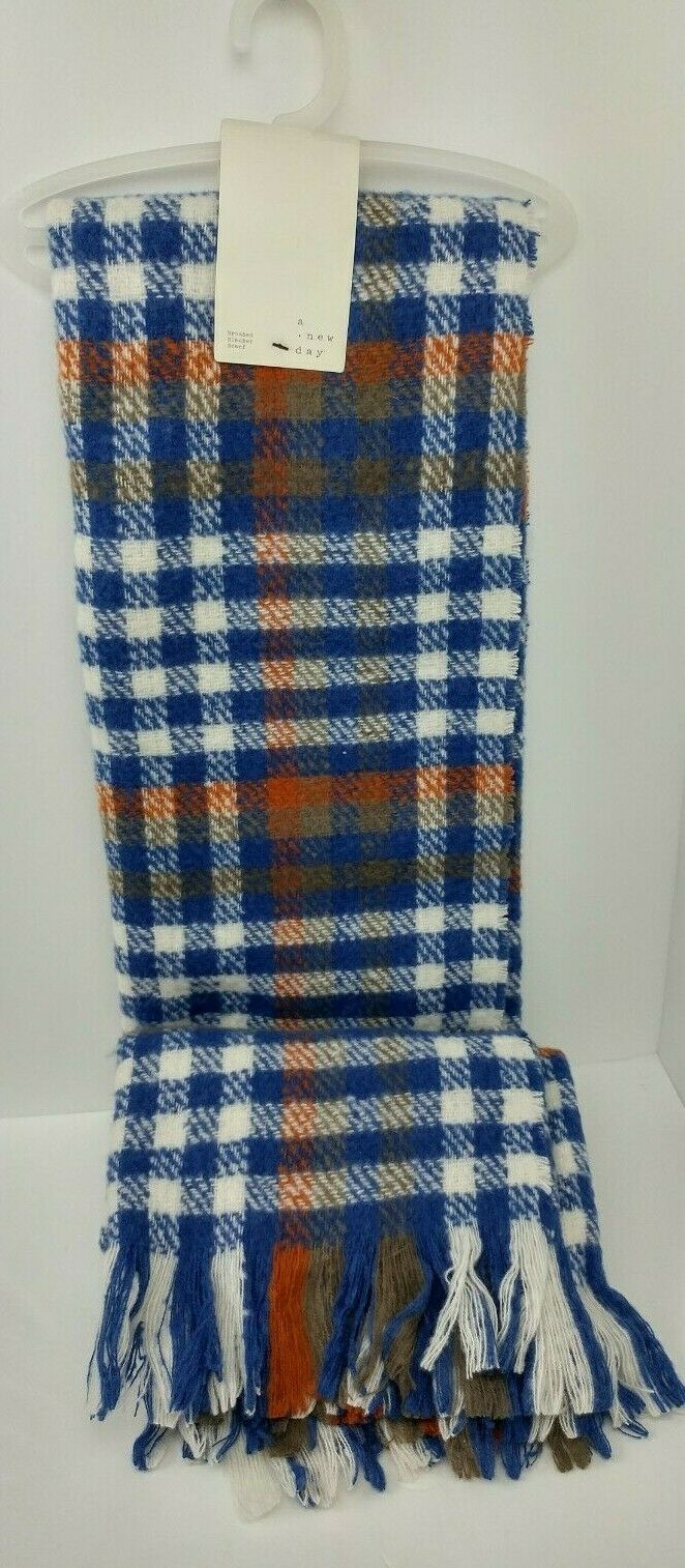 A New Day Plaid Brushed Blanket Scarf Shawl Over-Sized - NEW