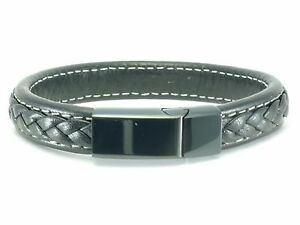 Black-Leather-Mens-Stainless-Steel-Bracelet-Braided-Bangle-Cuff-Magnetic-Clasp