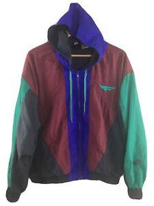 Vtg-90s-Nike-Flight-Jacket-Colorblock-Hooded-M-Medium-Nylon-Windbreaker-Coat