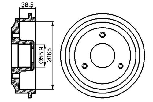 Citroen Ax Za- 1986-1998 Vetech Rear Brake Drum 165mm Diameter