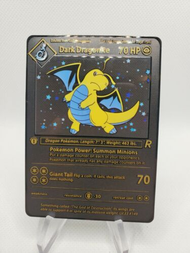 Pokemon-Custom Metal Textured Dark Dragonite Card