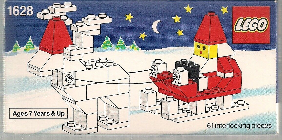 LEGO SANTA ON SLEIGH WITH REINDEER 1991 RE-RELEASE SET 61pc SEALED NEW