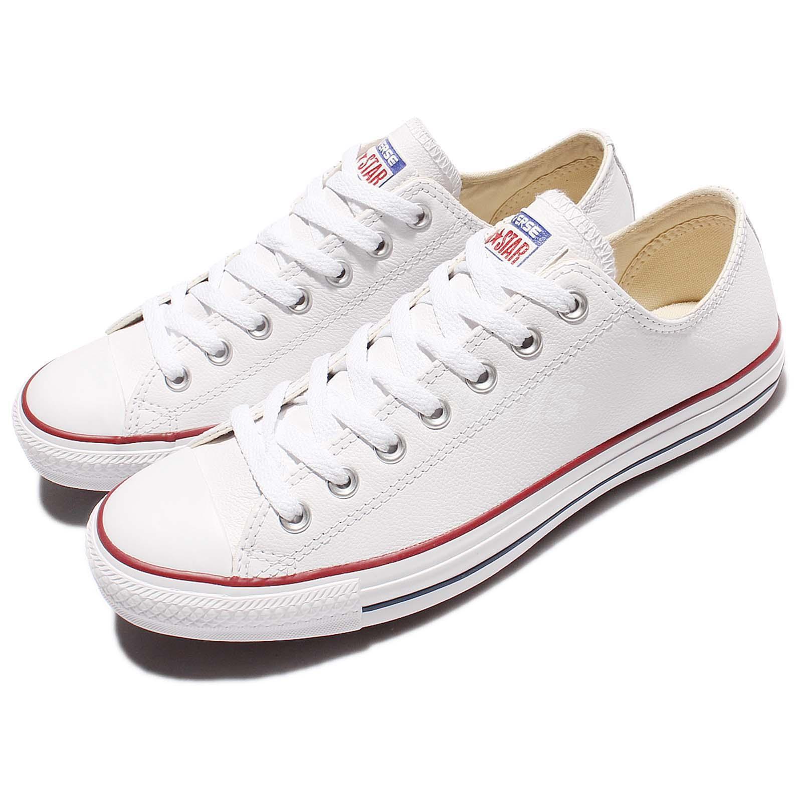 """ea65c3535 Converse Chuck Taylor All Star Ox Blanco De De De Cuero Zapatos Tenis Para  Hombre Mujer. """""""