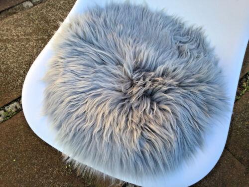 Sitzauflage Schaffell Fell-Pad grau ca 40cm rund Sitzkissen Stuhlauflage