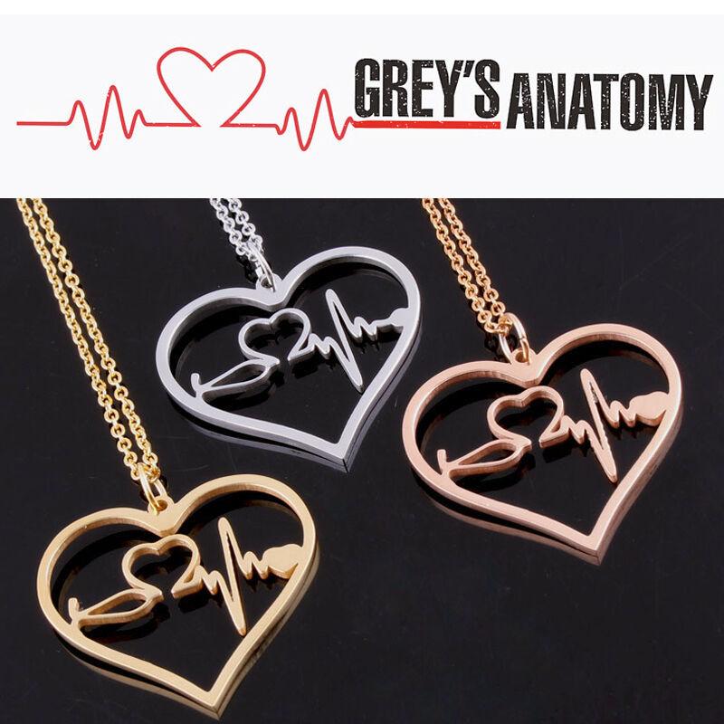 Greys Anatomy Inspired Heartbeat Necklace Rose Goldgoldsilver Ebay