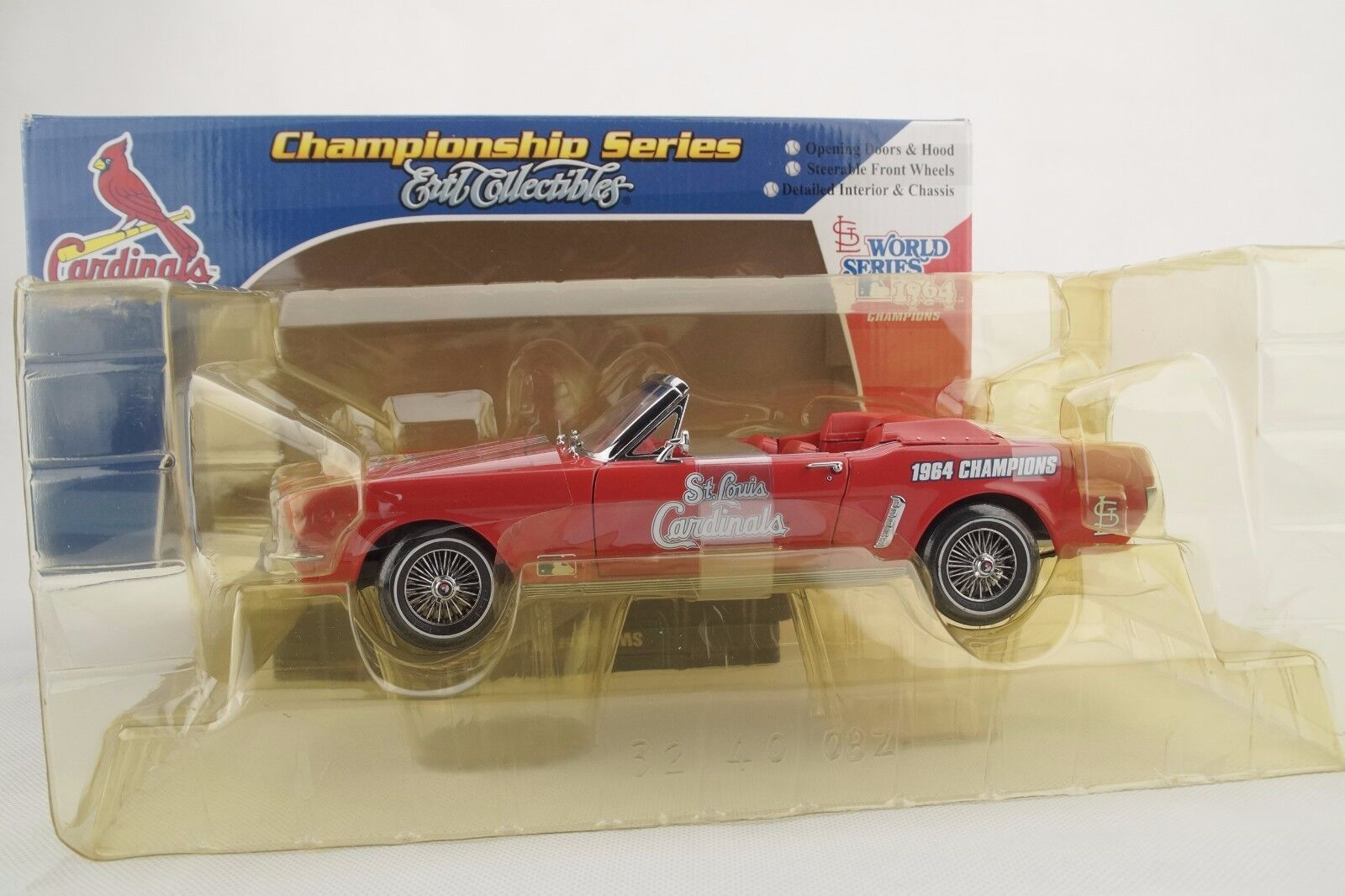 1:18 Ertl - 1964  1/2  Ford Mustang Rosso st Louis Cardinals - Rarità -