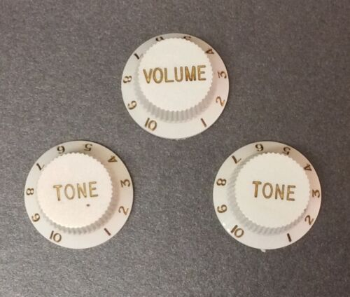 Mighty Mite Strat Style Knobs in White Set of 3