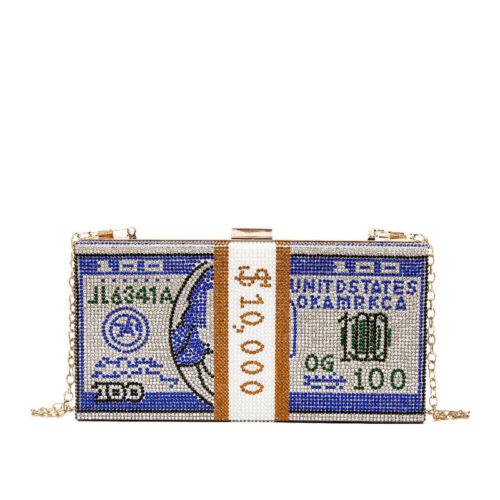 US Dollar Clutch Purses Women Crystal Evening Bags Designer Rhinestones Handbags