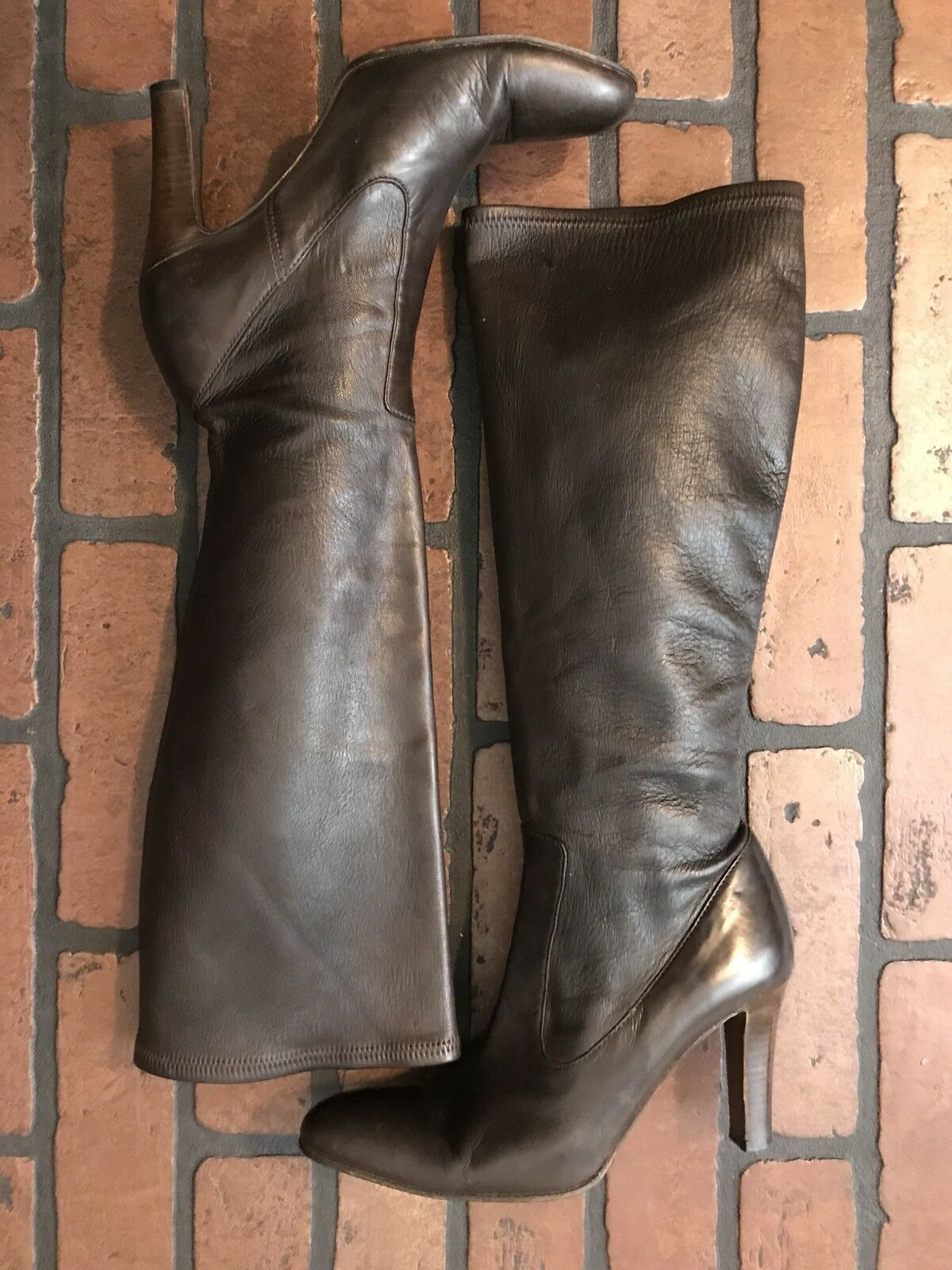 Cole Haan Knee High Boots Soft Brown Brown Brown Leather Size 7 Made In  2862ba