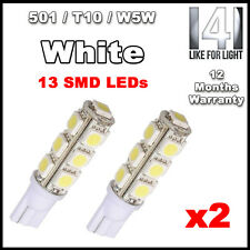 2 X 13 SMD LED 501 T10 W5W wedge Sidelight / Number Plate / Interior bulbs WHITE