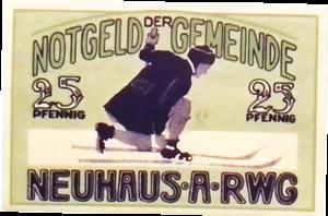 1921 Germany NEUHAUS  25 Phennig Notgeld Banknote
