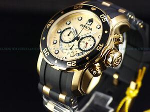 NEW-Invicta-48mm-Pro-Diver-Scuba-18k-Gold-IP-Quartz-Chronograph-Poly-Strap-Watch