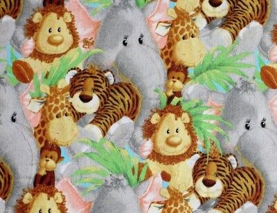 """JUNGLE BABIES PATTY REED  COTTON FABRIC TRADITIONS NURSERY QUILTING  13/"""" REMNANT"""