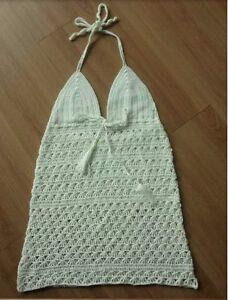 Handmade crochet backless green halterneck top