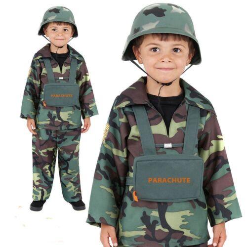 Garçons armée militaire soldat uniforme super héros fancy dress costume outfit 4-12 ans