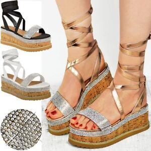 Womens-Ladies-Flatform-Diamante-Wedge-Sandals-Platform-Ankle-Lace-Up-Summer-Size