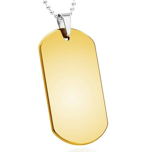 Yellow Gold Plated Tungsten Carbide Dog Tag Pendant Mens Pendant w// Free Chain