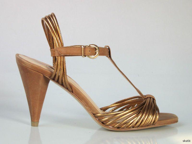in vendita New  275 SINELA bronze nude leather open-toe T-strap heels heels heels scarpe made in Spain  merce di alta qualità e servizio conveniente e onesto
