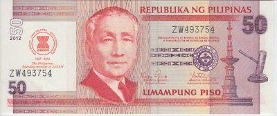 PHILIPPINES 50 PISO 2012 P 211A COMM MEMBER ASEAN UNC