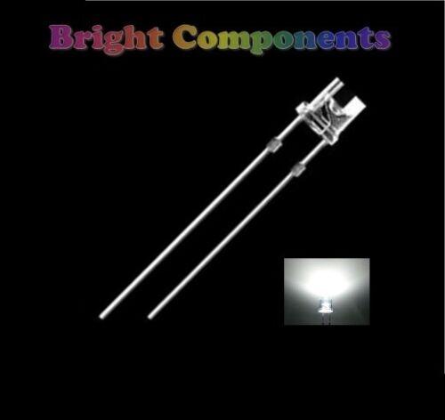 1st Class Post - UK 10 X Blanco LED 3mm Flat Top-Ultra Brillante 13000mcd