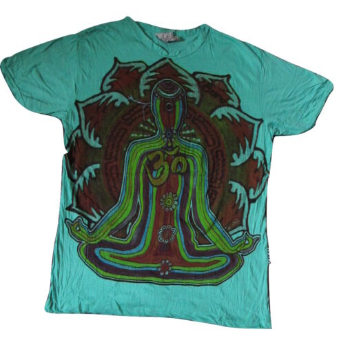 Mens Mirror T Shirt Chakra Meditate Boho Colourful Trippy Hippy Rare Cotton L