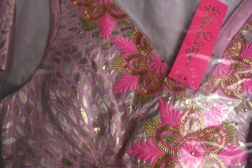 $328 New Lilly Pulitzer ELANIE DRESS Pink GOLD BROCADE Tropics Lagoon Beads 0 12
