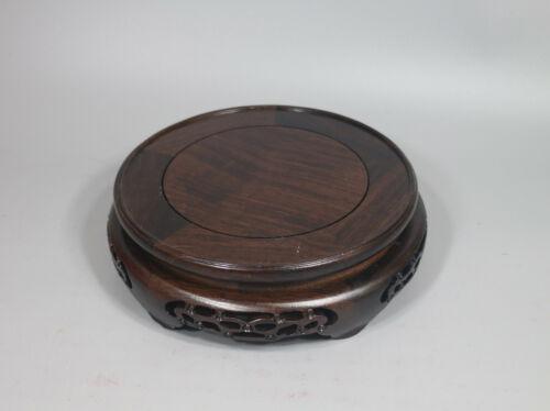 stand display black wood China wooden ebony flower design round base 15.5cm