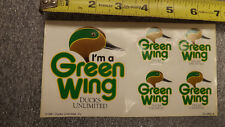 """Vtg """"I'm A Green Wing"""" Ducks Unlimited Decal 1 sheet / 5 stickers 1991 WIngs"""