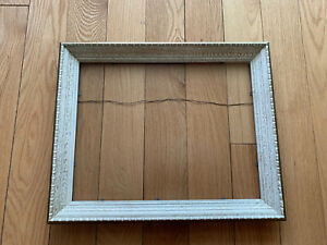 Picture-Frame-Wood-Blue-Color-Perfect-Vintage-Condition-Under-Glass-16x13-14x11