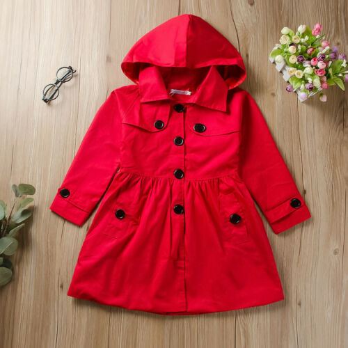 Toddler Kids Baby Girl Solid Windproof Hooded Coat Long Sleeve Jacket Outerwear