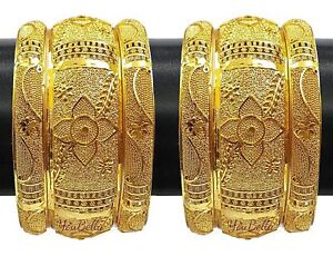 6 Pcs Indian Woman Jewelry Gold Plated Traditional Bangles