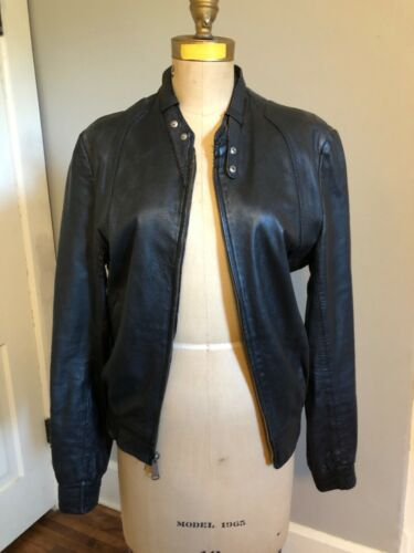 Vintage 1970s Mens Black Leather Racer Jacket Moto