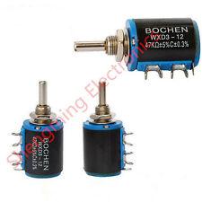 10pcs Wxd3 12 10k Ohm Multi Turn Wirewound Potentiometer