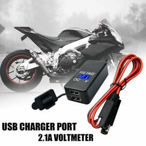 MOTO-SAE-USB-CAVO-Caricabatterie-ADATTATORE-12V-DOPPIA-PORT-TELEFONO-amp-VOLTMETRO