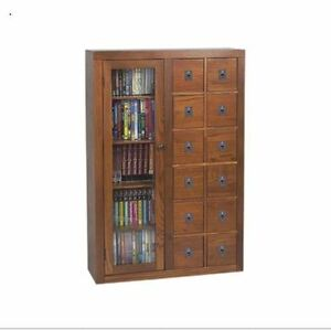 Library Card Catalog CD DVD Cabinet Media Storage Apothecary Style