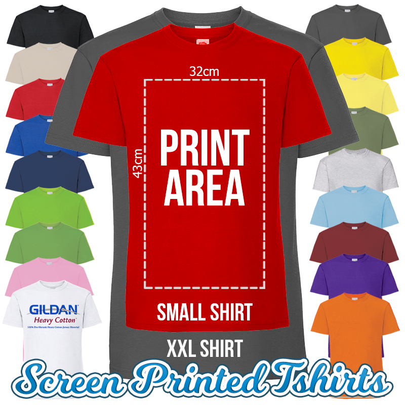 Mens Custom Screen Printed T-Shirts 1 Colour Print Band Charity Shirts Wholesale