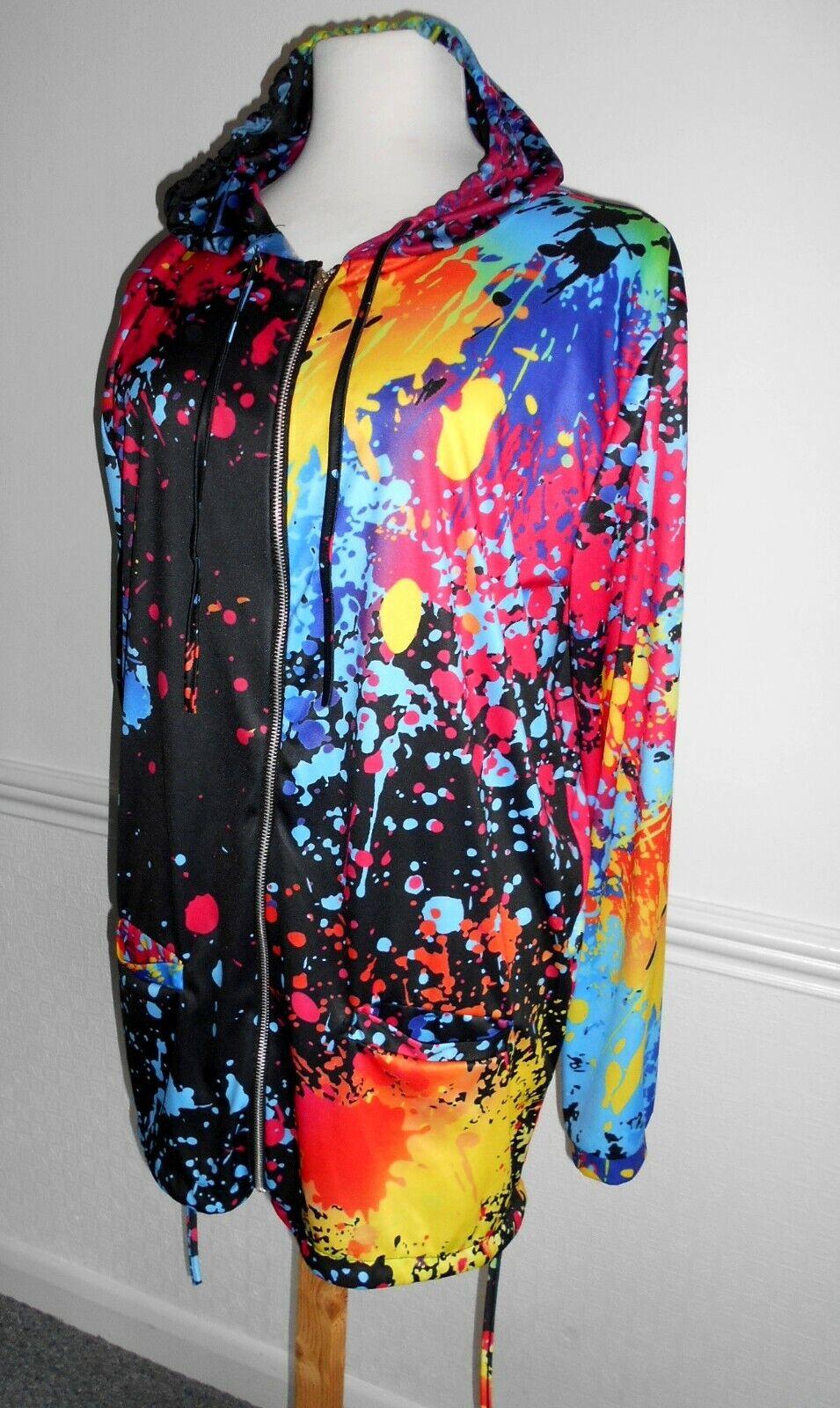 Unisex Unbranded festival hooded jacket bright splashes of colour pockets 4xl