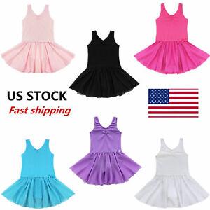 US-Girls-Ballet-Dance-Dress-Gymnastics-Tutu-Leotard-Tutu-Skirt-Dancewear-Costume