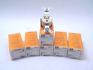 LOT OF 6 HUBBELL HBL5251I 15A 125V ivory single receptacle