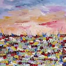 ORIGINAL CONTEMPORARY MODERN ABSTRACT FLORAL KNIFE PAINTING 60x60cm box canvas
