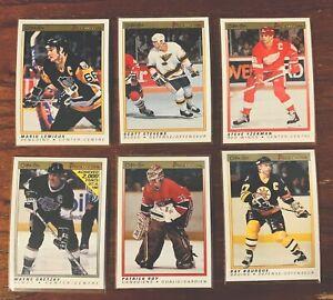 1990-OPC-Premier-lot-of-6-Gretzky-Lemieux-Roy-Yzerman-Stevens-Bourque-NM-MT