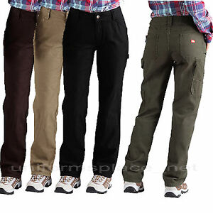 Dickies Pants Womens Relaxed Straight Fit Carpenter Work Duck ...