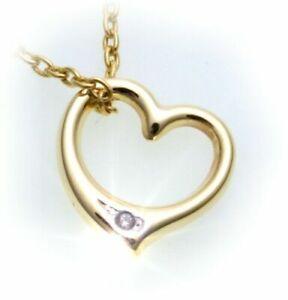 Damen Anhänger Herz mit Diamant 0,005 ct poliert 333 Gold Gelbgold Brillant