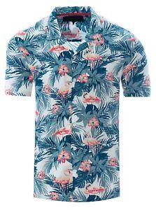 432e024c32 Image is loading Soulstar-Mens-Cubano-Collar-Short-Sleeve-Summer-Flamingo-