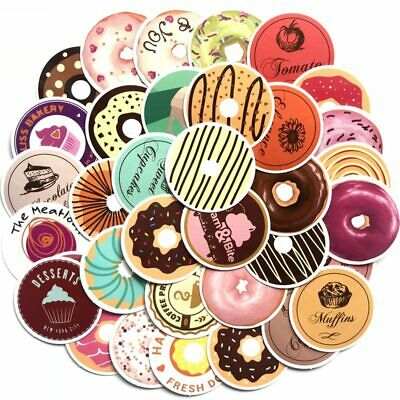 35 Donut Stickers Bomb Pack Lot Food Bakery Kitchen Restaurant Waterproof Decals