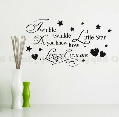 Twinkle Star Heart Wall quote decals stickers home decor kids nursery baby art-S