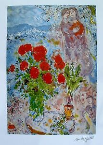 MARC-CHAGALL-034-RED-BOUQUET-WITH-LOVERS-034-Facsimile-Signed-amp-Numbered-Lithograph